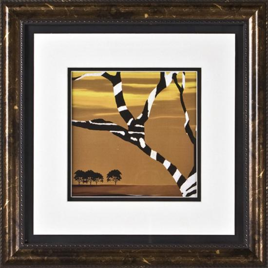 Zebra African Tree I Print Under Glass Wall Art